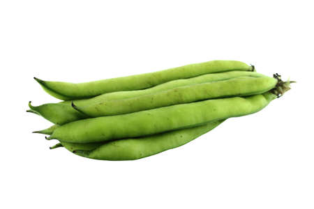 fave bean: broad bean pods and beans on white background .  with a clipping path Stock Photo
