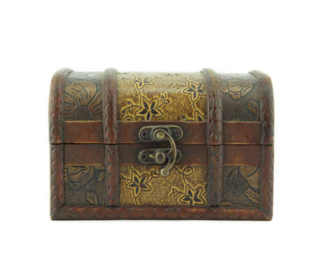 single open wooden chest with metal ornament  photo