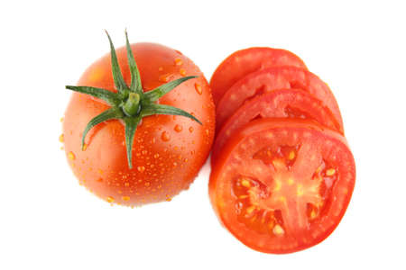 fresh tomatoes and tomatoes slices with green leaves on white background  Stock Photo