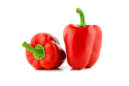 capsicums: Red sweet pepper on a white background  with a clipping path Stock Photo