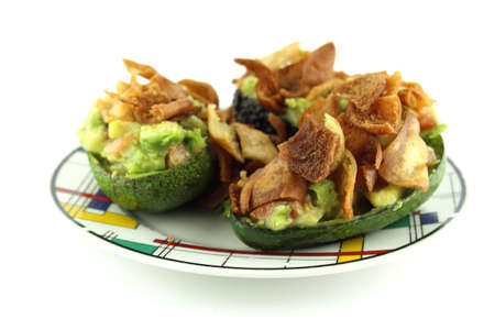 healthy path: Healthy Avocado Salad stuffed with Crispy bread, tomato and salsa  with a clipping path