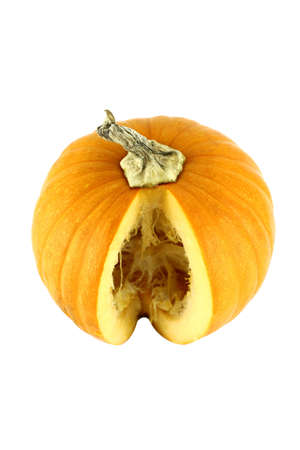 piece of ripe pumpkin on a white background  with a clipping path photo