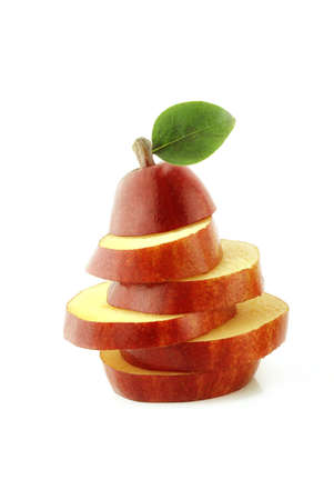 Fresh Red Pears slices on white photo