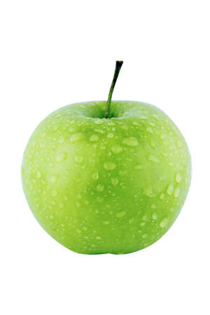 Fresh green apple on white background  with a clipping path Stock Photo