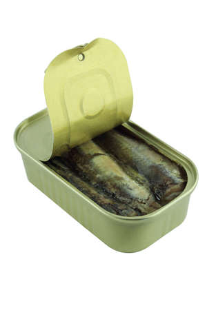 sardine can: open sardine can on white background.  with a clipping path