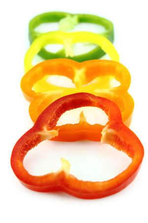 slices of colorful sweet bell pepper. photo