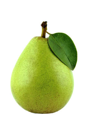 Fresh Green Pears with leaf on white  with a clipping path photo
