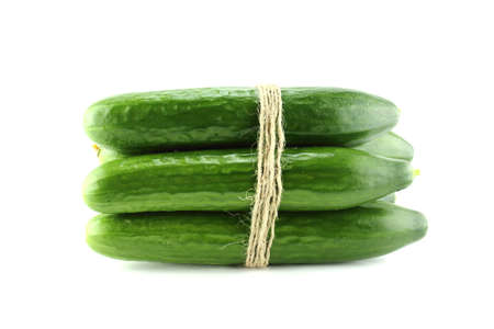 Fresh Cucumber on white background.  photo