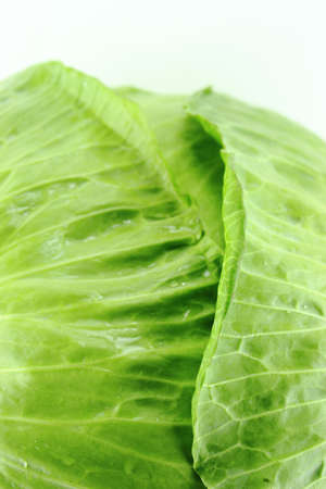 supper: Fresh green cabbage on white background .