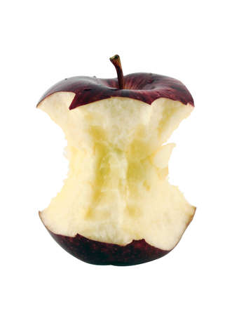 apple core: Red apple core on a white background  with a clipping path Stock Photo
