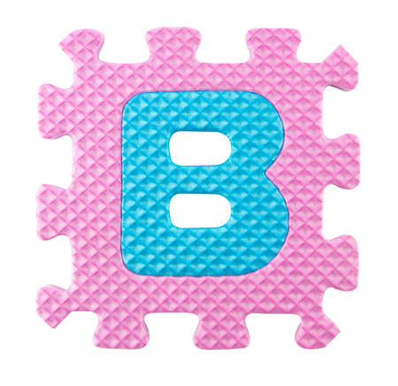B letter, Alphabet puzzle isloated on white background . photo