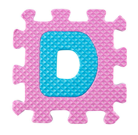 D letter, Alphabet puzzle isloated on white background . photo