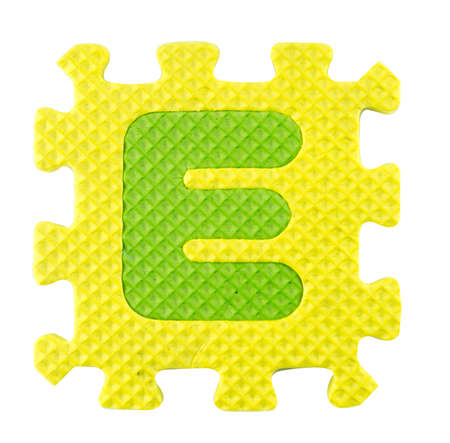 e alphabet: E letter, Alphabet puzzle isloated on white background , with clipping path.