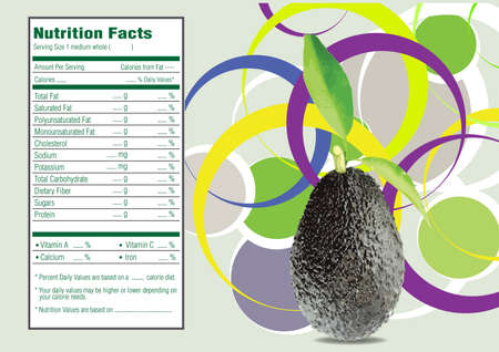 avocados: Creative Design for Avocados with leaves and Nutrition facts label. Stock Photo