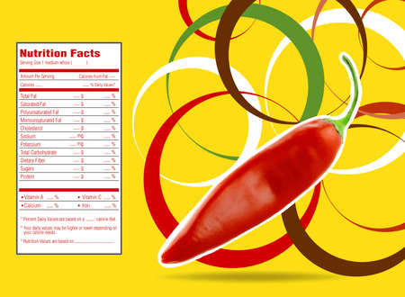 fat burning: Creative Design for Red hot chili  with Nutrition facts  label. Stock Photo