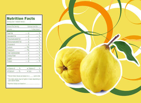 diet food: Creative Design for sweet quinces with Nutrition facts  label.