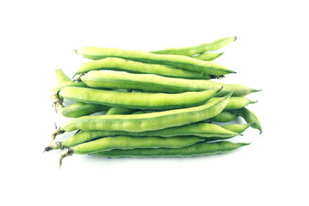 broad bean pods and beans on white background .  photo