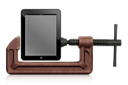 horizontal hand vise c-clamp and tablet computer