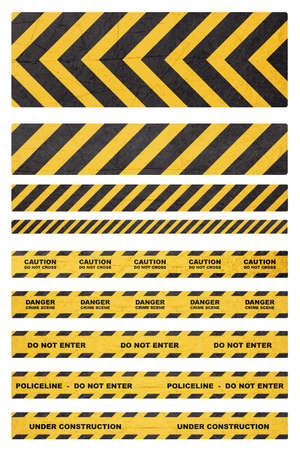 Caution, danger, and police tape attention isolated on white   (with clipping work path)