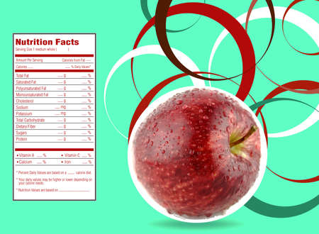 facts: creative design for red apple with Nutrition facts label. Stock Photo