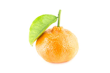 Fresh tangerine with leaves isolated on a white background  (with clipping work path) photo
