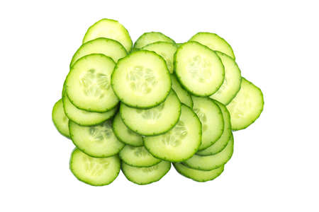 Fresh Cucumber and slices white background.  photo
