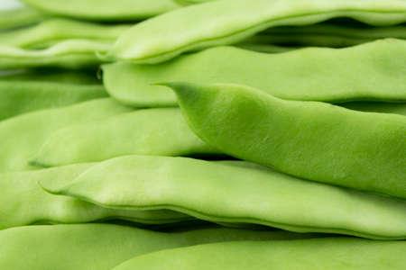 shuck: fresh beans fruit on white background . Stock Photo