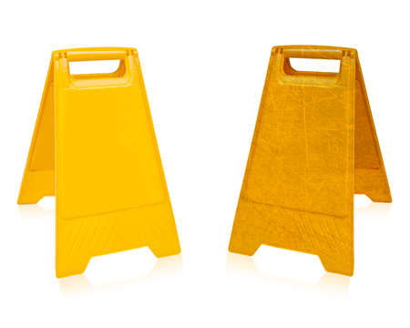 wet floor: Yellow sign that alerts for wet floor.  (with clipping work path) Stock Photo