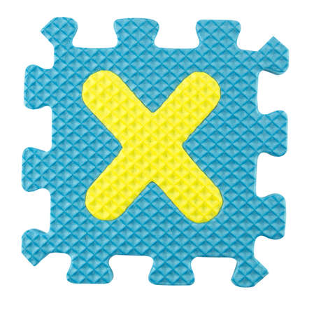 X letter, Alphabet puzzle isloated on white background , with clipping path. photo