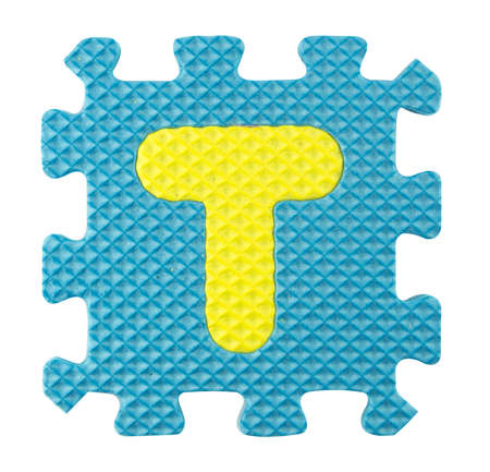 T letter, Alphabet puzzle isloated on white background , with clipping path. photo