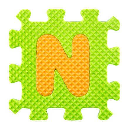 N letter, Alphabet puzzle isloated on white background , with clipping path. photo