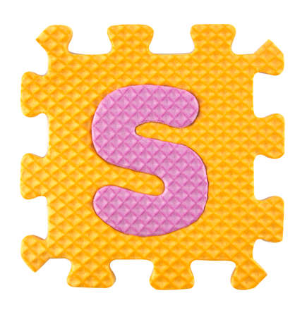 clipping  path: S letter, Alphabet puzzle isloated on white background , with clipping path. Stock Photo