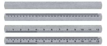 metal ruler isolated over a white background  with clipping path. (with clipping work path) Stok Fotoğraf - 22849155