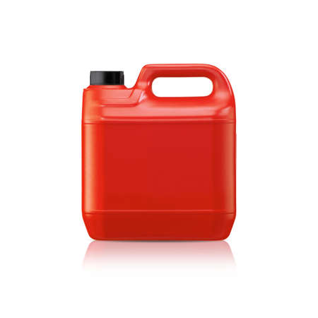 Red plastic gallon, jerry can  isolated on a white background.  (with clipping work path) photo
