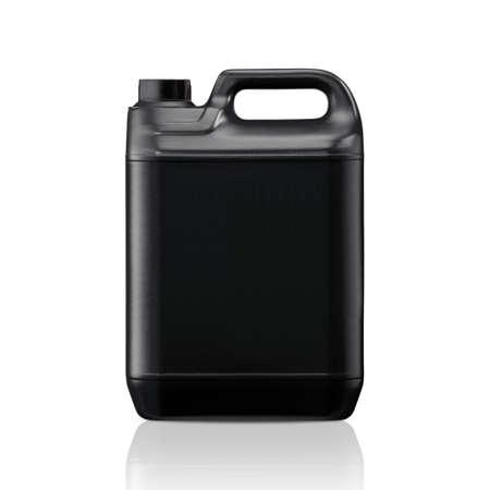 黒いプラスチック ガロン ジェリーは、白い背景に分離できます。(作業用パスをクリッピング) 付き 写真素材