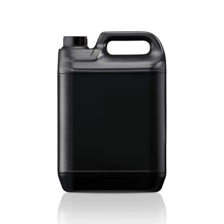 plastic container: Black plastic gallon, jerry can  isolated on a white background.  (with clipping work path)