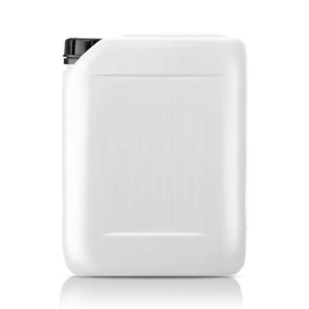 empty tank: White plastic gallon, jerry can  isolated on a white background.  (with clipping work path)