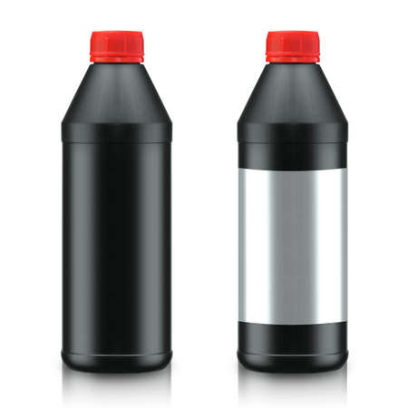 new motor vehicles: Black Oil Bottle isolated on white background. (with clipping work path)