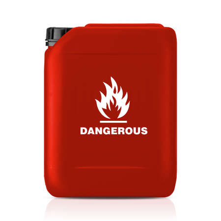 White plastic gallon, jerry can with flammable sign isolated on a white background.  (with clipping work path) photo