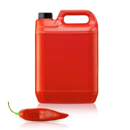gallon: Hot chili pepper sauce in plastic gallon on a white background  (with clipping work path)