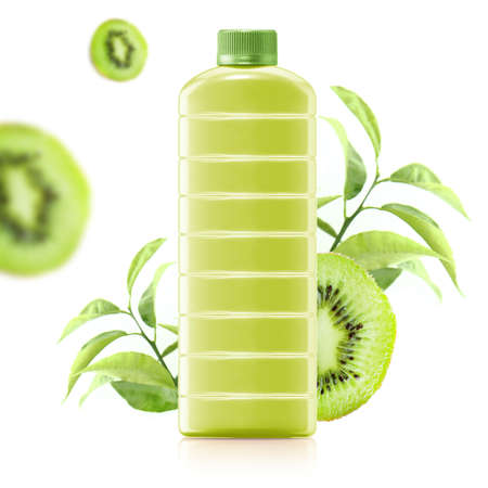 kiwi juice in a plastic container jug with fresh kiwi and leaves on a white background. photo
