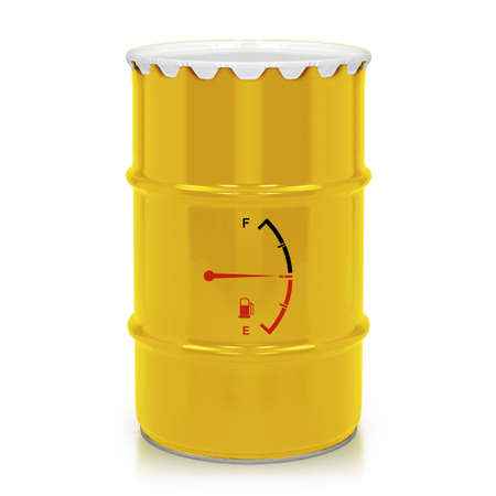 Golden  fuel  barrel, jerry can with Fuel Meter isolated on a white background.  (with clipping work path) photo