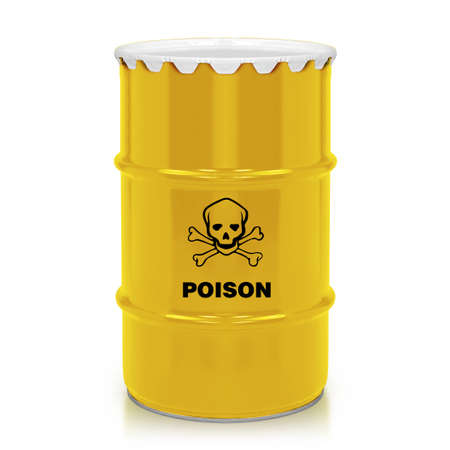 Golden barrel with poison sign  isolated on a white background.  (with clipping work path) photo
