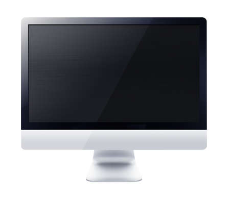 Black LCD tv screen hanging on a wall .  (with clipping work path) photo