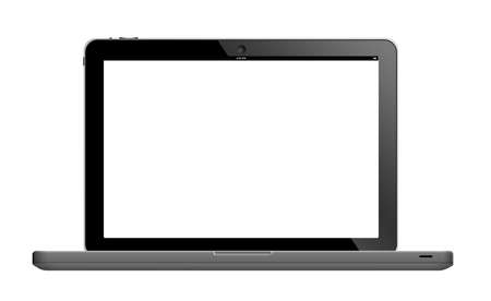 Laptop with blank screen isolated on white. Can be used with custom images.  (with clipping work path)  photo