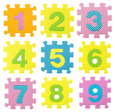 0 9: numbers from 0 to 9  created from Alphabet puzzle isloated on white background