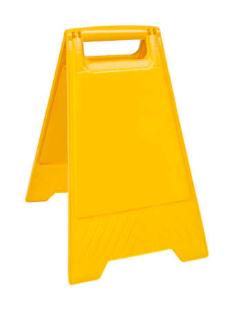Yellow sign that alerts for wet floor.  (with clipping work path) photo