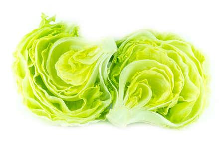 bisected: Fresh Green Iceberg lettuce .