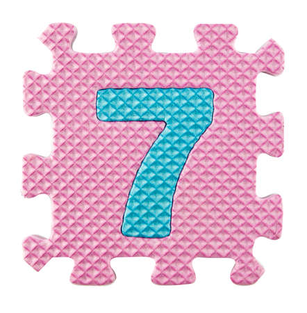 number seven: Number Seven, Alphabet puzzle isloated on white background