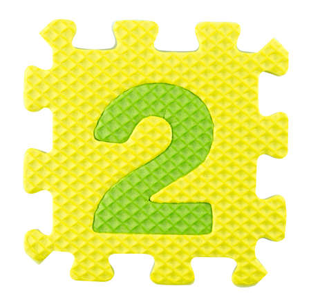 Number Two, Alphabet puzzle isloated on white background  photo